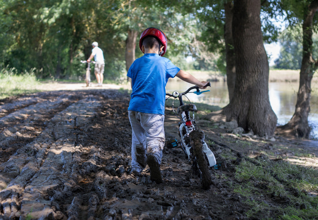 heavy bicycle in mud