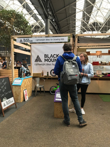 Black Mountain bikes at Old Spitalfield market London. Kids bikes that grow