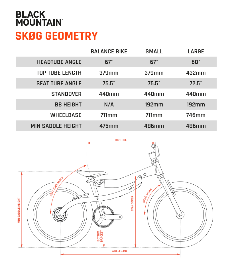Black Mountain Bike Pinto Geometry