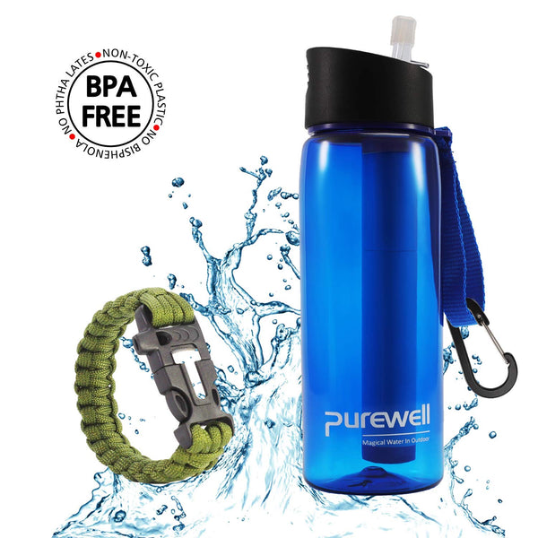 Purewell - Water Bottle With Integrated Filter Plus Bonus Paracord Bracelet