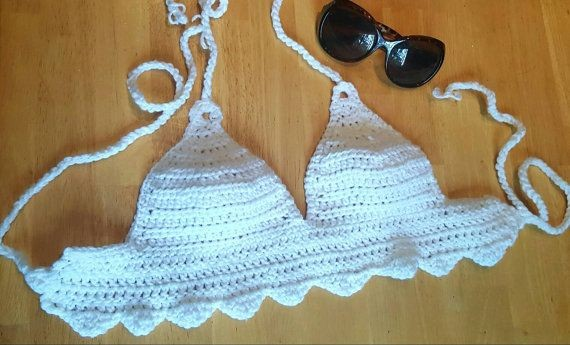 White bralette, Scallop edge crochet top, beachwear