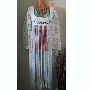 White bohemian fringe top, white crochet long sleeves top,  white fringe crop top