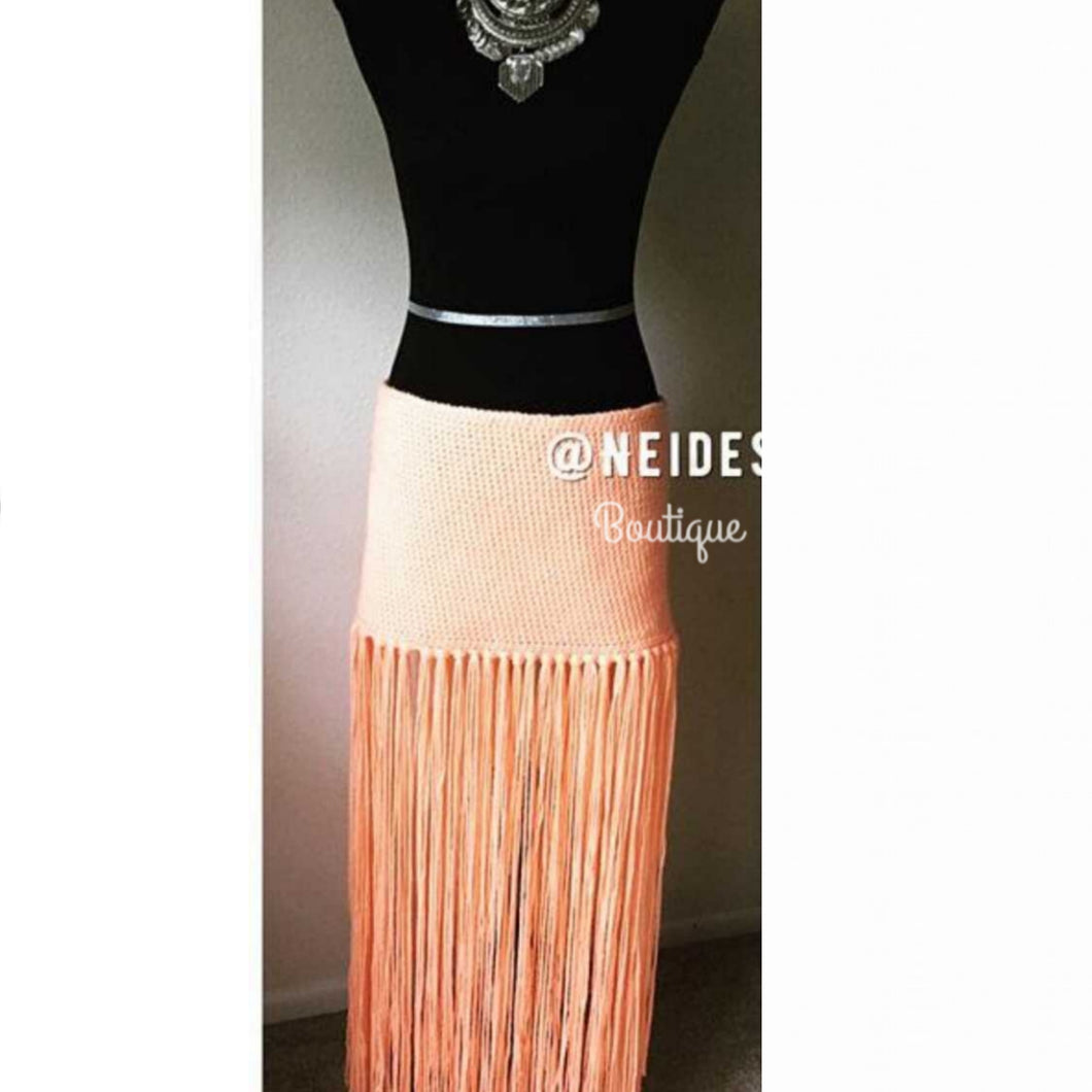 Peach Skirt,  fringe skirt, Bohemian Peach skirt