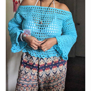 Long sleeves beach top, Aqua festival top Crochet top beach cover top, handmade