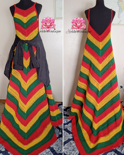 Rasta dress, Rasta Crochet dress, Badu dress