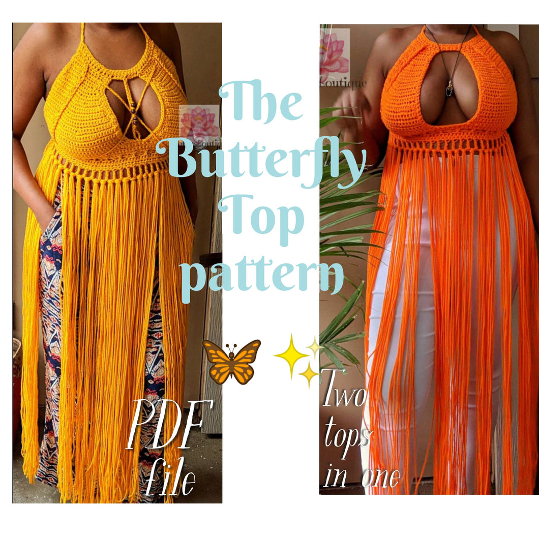 Crochet Crop top pattern, The Butterfly Top Pattern, PDF file