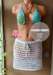 Crochet outfit pattern, Crochet skirt pattern, crochet top pattern, skirt pattern, PDF file, crochet beach skirt pattern, how to crochet, pattern