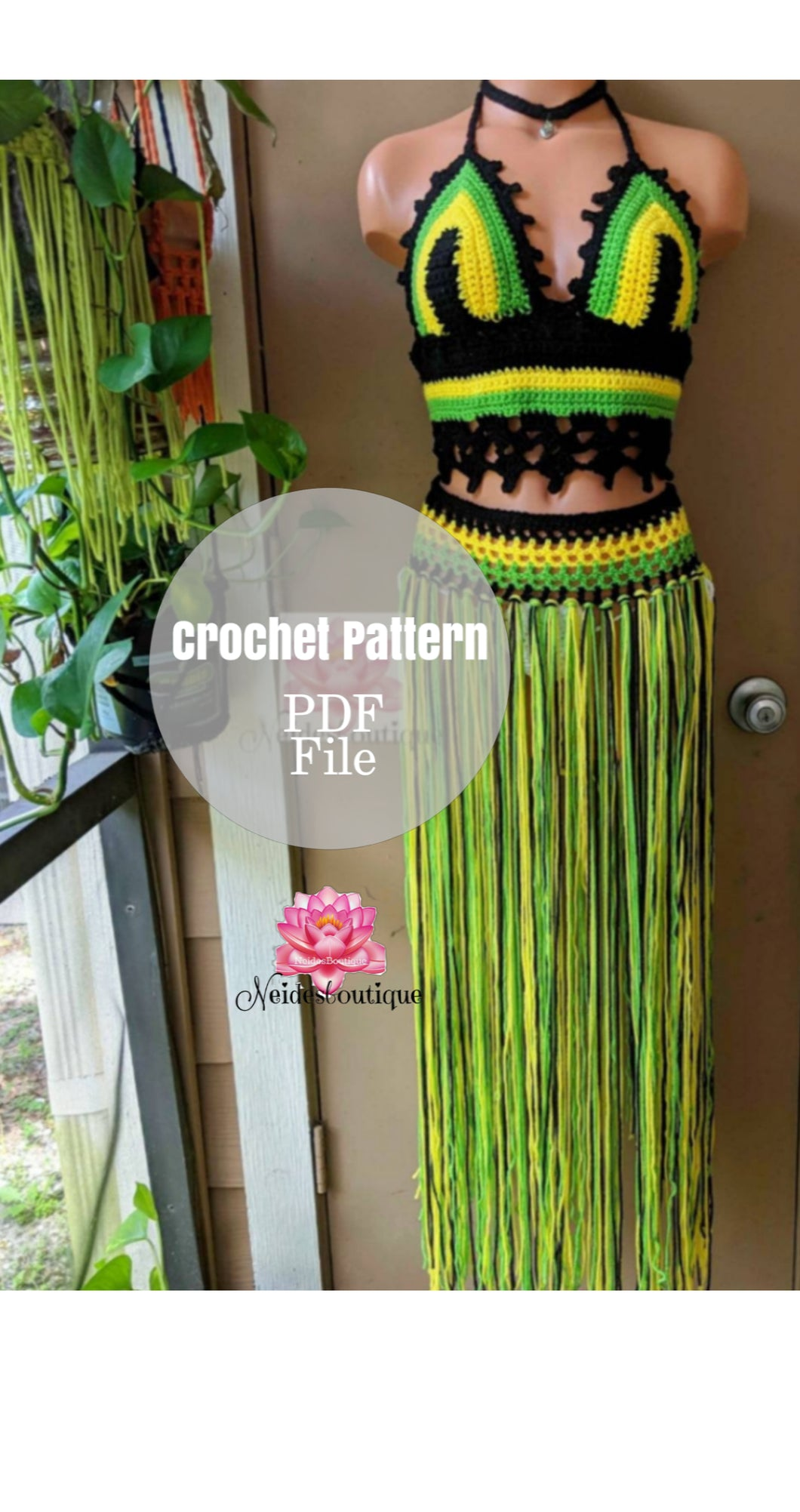 Jamaican Babe outfit, crochet top and belt pattern by Neidesboutique