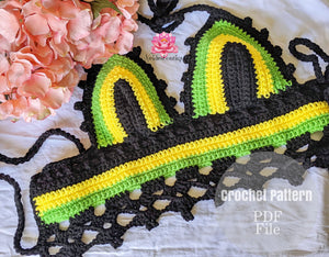 Jamaican Babe Bralette pattern, crochet top pattern by Neidesboutique