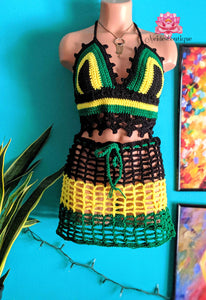 Jamaican outfit Crochet festival outfit, beach cover, bikini top