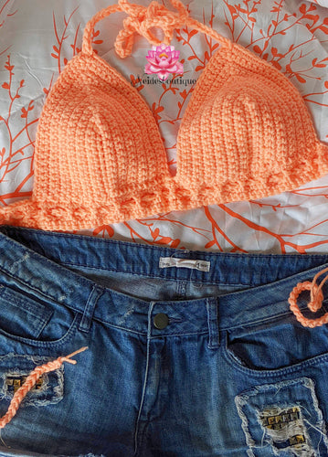 Crochet top in Peach, Crochet bralette by Neidesboutique