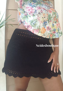 Black crochet skirt, Festival style scallop skirt