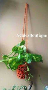 Bohochic Plant hanger, home decor,  flamingo color diamond shape crochet plant hanger,  apartment plants, garden decor