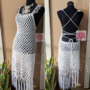 White beach dress, white Bohemian crochet dress,White festival dress
