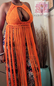 Festival bralette, Pumpkin(orange) color, fringe bralette, crochet Fringe top, festival clothing
