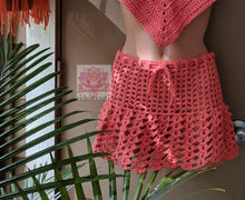 Coral Highwaisted skirt, Bohemian beach skirt, crochet skirt, Beach short, bohemian style