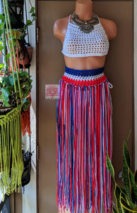 Red White and blue belt, skirt