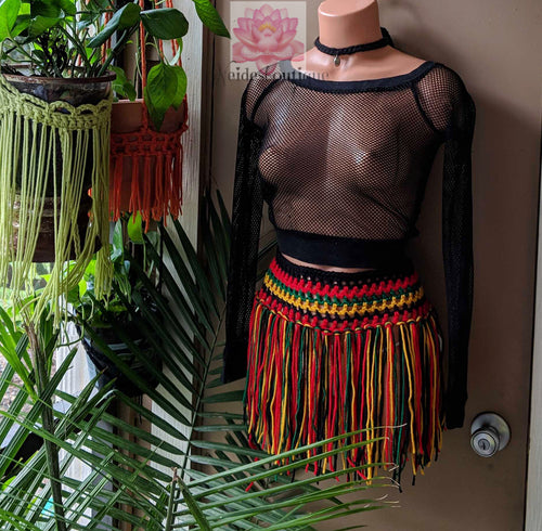 Rasta skirt, Jamaican color skirt, fringe skirt, beach bikini cover