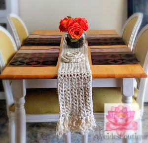 Bohemian table runner, Floral crochet table runner