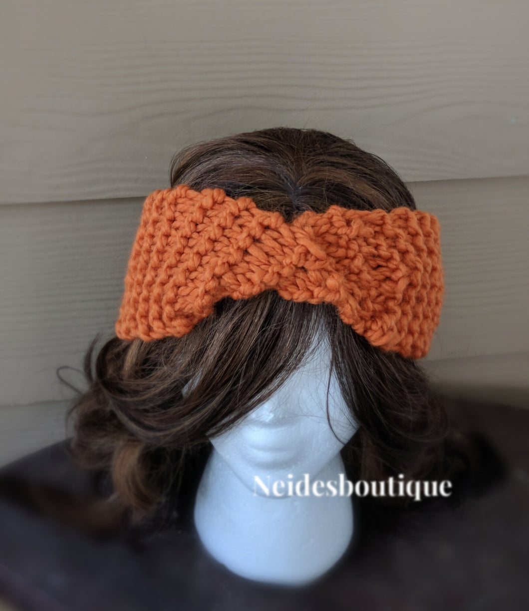 Knit earwarmer knit headband pumpkin spice