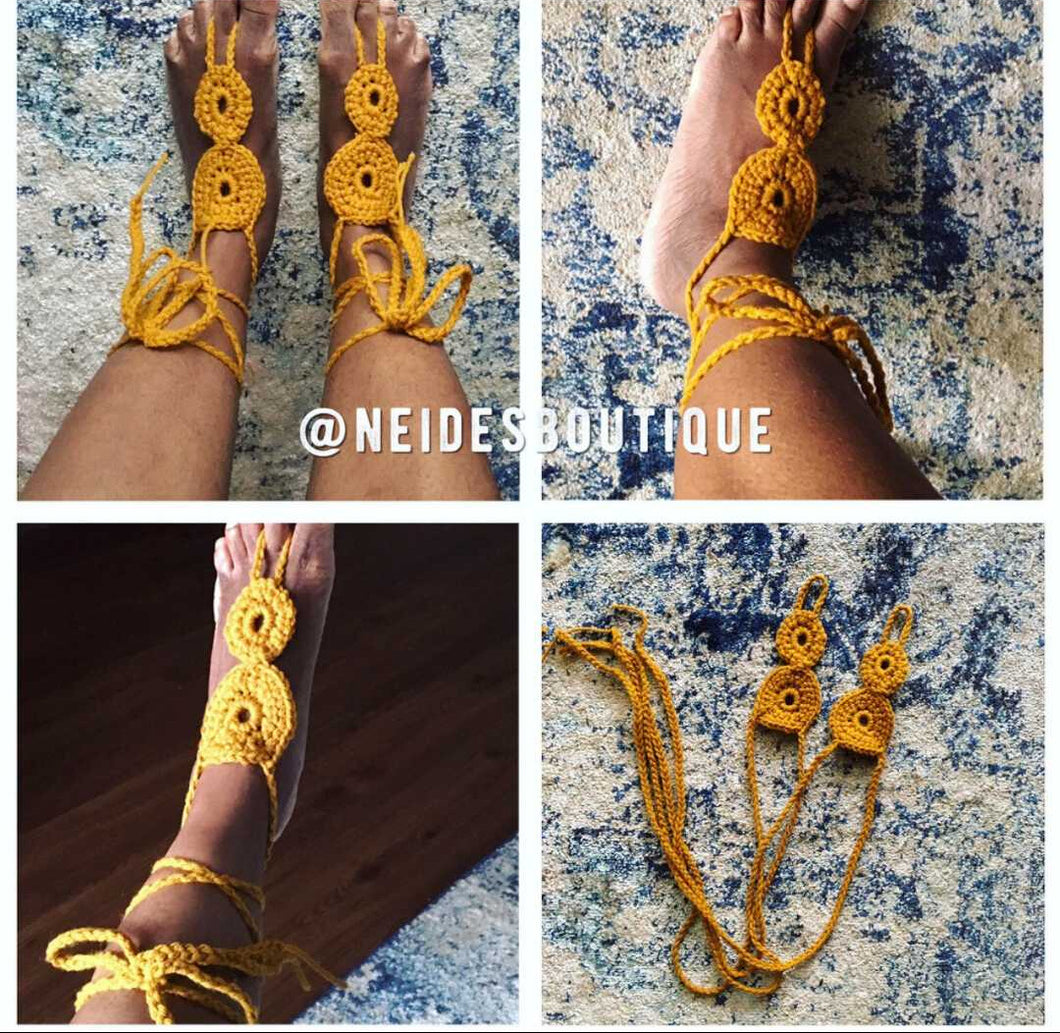 Golden yellow beach sandals, crochet beach sandals