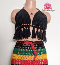 Tassel top, Black fringe crop top