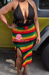Long Rasta skirt and Tassel Top