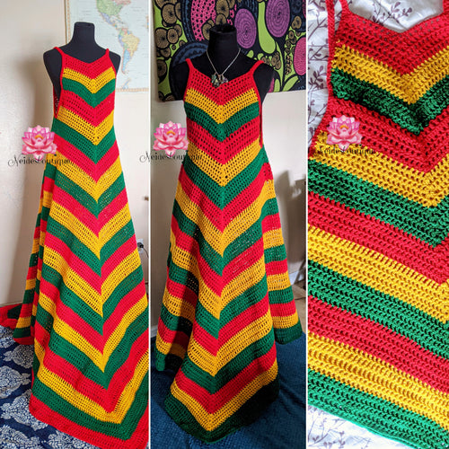 Badu Rasta dress, short Rasta Crochet dress