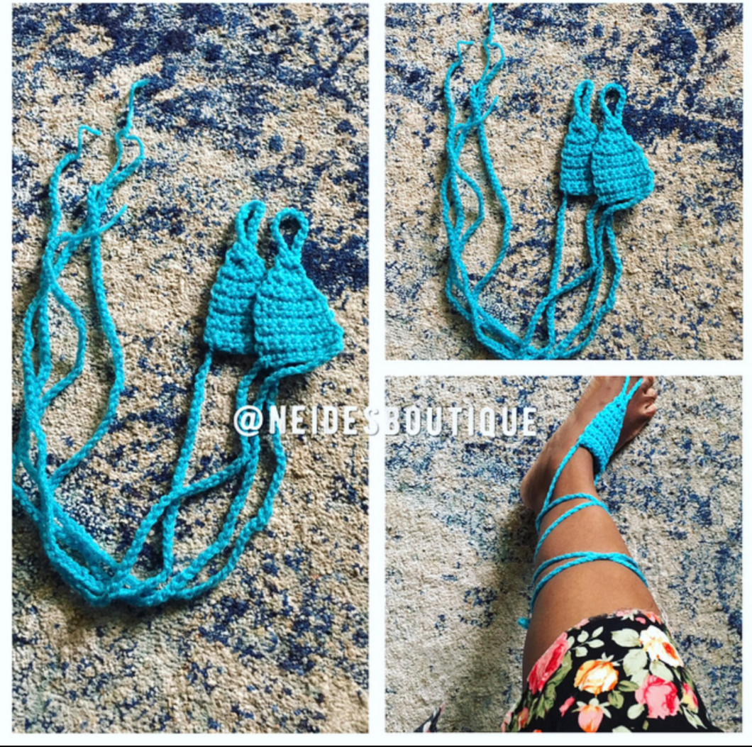 Ocean Blue beach sandals, crochet beach sandals, Bohemian style