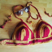 FSU, Crochet bralette, Red,yellow bikini, crochet halter top, crochet crop top, bohemian clothing, bohochic, women festival clothing,Spring,