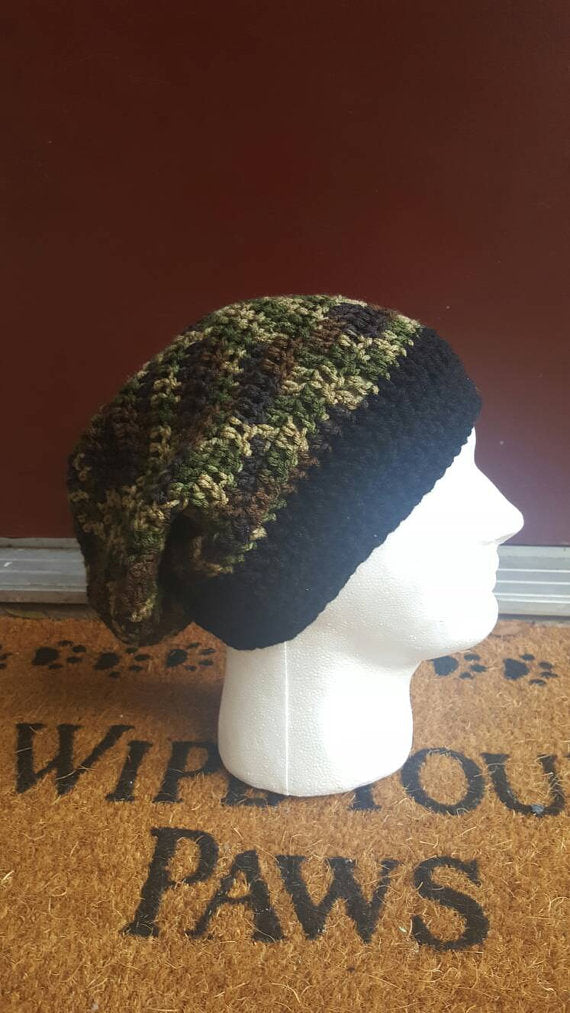 Unisex crochet Beanie, camouflage beanie, camo hat, fall style, Christmas gift, gift for her, gift for him