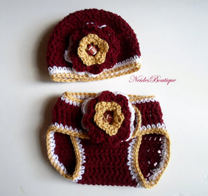 FSU BABY OUTFIT- Crochet baby hat and Diaper cover- Baby accessories, school spirit, Newborn to 3 Months, 3-6 months 6-9 months baby diapers