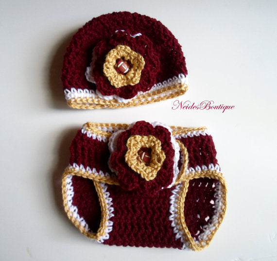 FSU BABY OUTFIT- Crochet baby hat and Diaper cover- Baby accessories ... 2d21f7056f5
