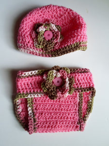 PINK BABY OUTFIT- Crochet baby hat and Diaper cover- Baby accessories, Baby girl's outfit, Newborn to 3 Months size