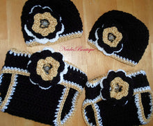 Crochet Baby outfit, New Orleans Saints football, crochet baby hat and diaper cover, Baby Outfit, school spirit