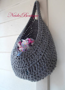 Pattern for Large Gray laundry bag, PDF file Crochet pattern, Dorm room storage, Kitchen storage, Yarn basket, clothing basket, hanging storage, toys storage, home decor