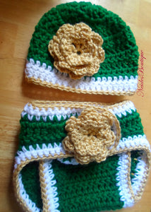 USF BABY Hat+Diaper Cover- Crochet baby Diaper cover- Baby accessories, Baby girl's outfit, Newborn to 3 Months,Diaper cover