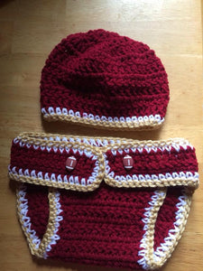 FSU BABY OUTFIT- Crochet baby hat and Diaper cover- Baby accessories, school spirit, Newborn to 3 Months size, 3-6Months, 6-9months, Babies