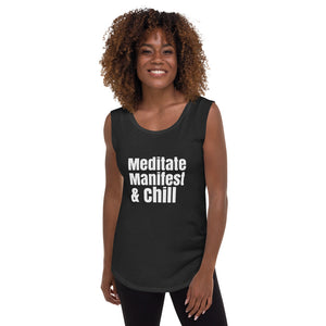 Meditate, Manifest, and Chill tank top, favorite chill shirt, best friend gift, Ladies' Cap Sleeve T-Shirt