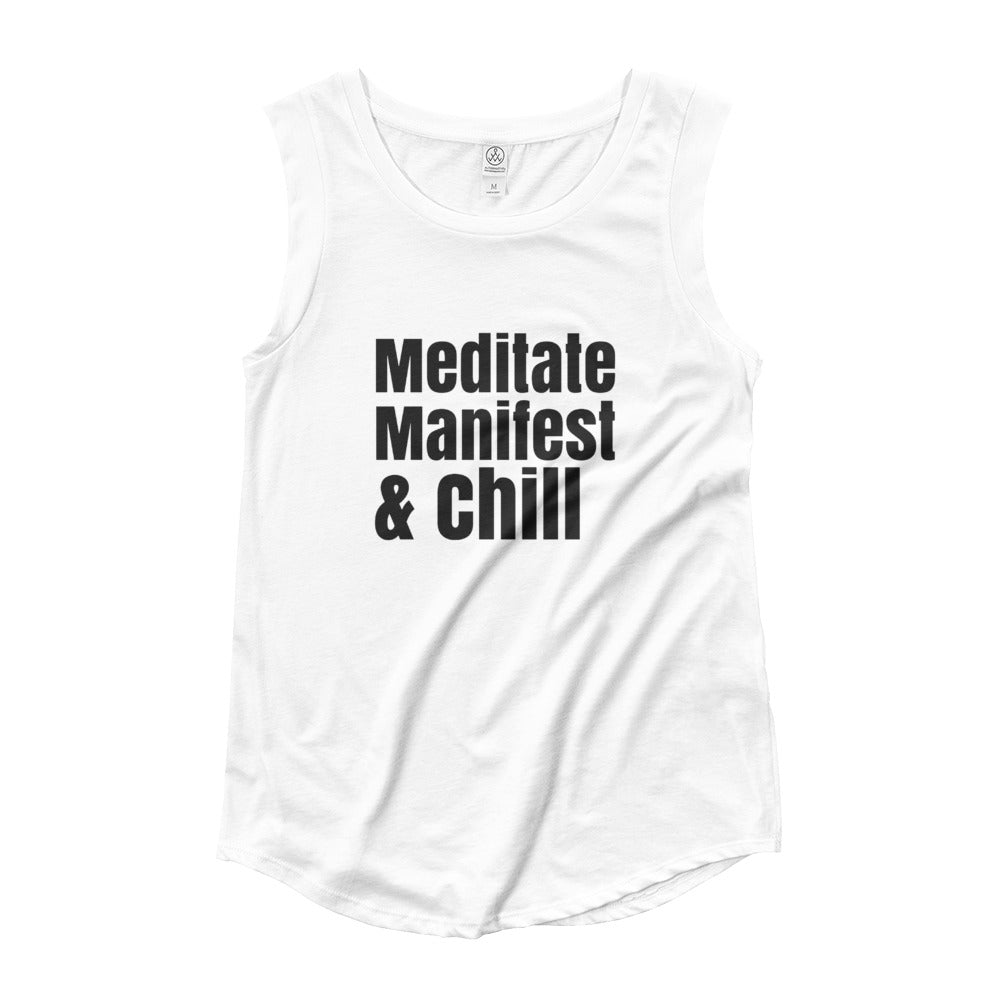 Meditate Manifest and chill shirt, Ladies' Cap Sleeve T-Shirt, LOA shirt