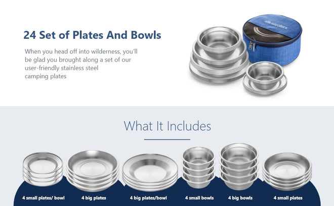 stainless steel plates and bowls dinnerware set