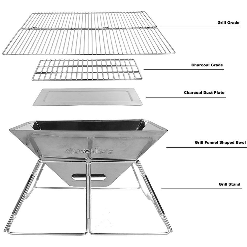 Portable Stainless Steel Charcoal Grill   With Stainless Steel Travel Kit    Wealers