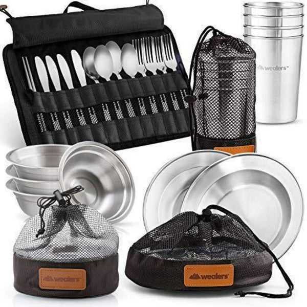 Complete Messware Kit Polished Stainless Steel Dishes Set | Tableware | Dinnerware | Camping | Buffet | Comes in Mesh Bags (4 Person Set)