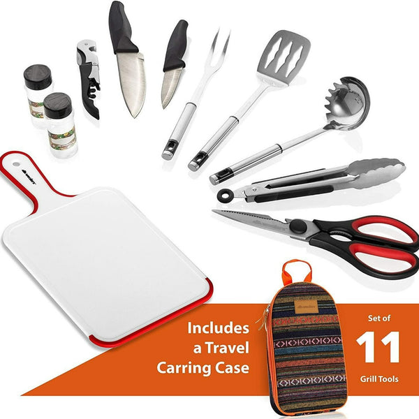 11 Piece Camp Kitchen Cooking Utensil Set - wealers