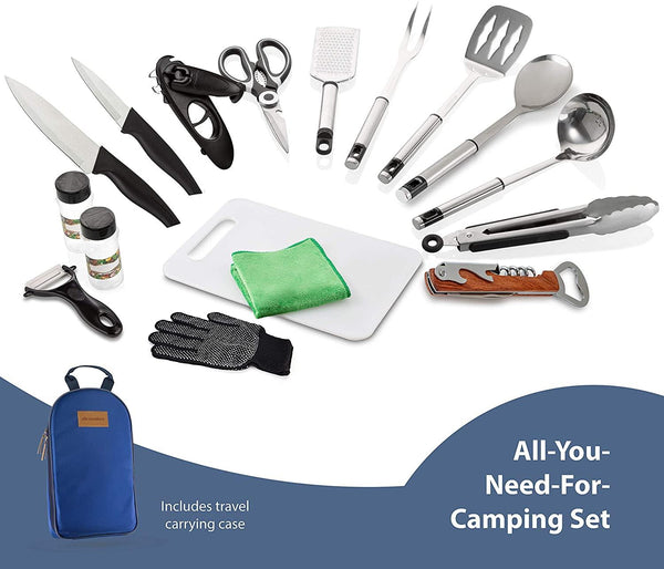 17 Piece Camping Cooking Utensil Set with Travel Organizer - wealers