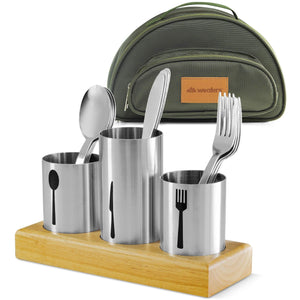 Stainless Steel Utensil Organizer With Cutlery - wealers