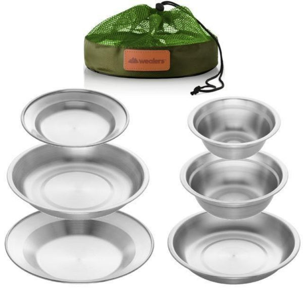 Stainless Steel Plates and Bowls Camping Set with Travel Bag (6-Piece Kit) - wealers