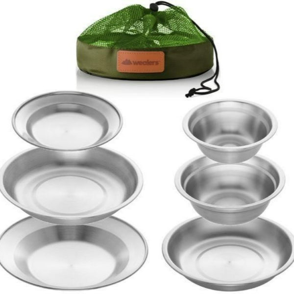 stainless steel plates and bowls dinnerware set wit travel kit