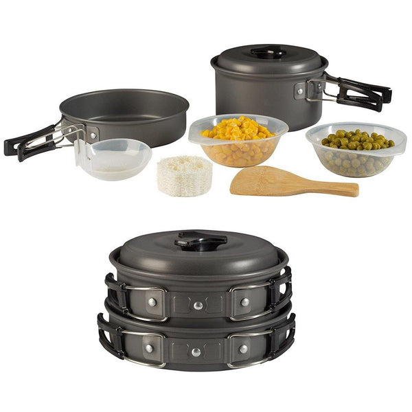 8 pc aluminum outdoor cookware kit - wealers