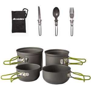7 Pc outdoor cookware kit - includes 3 pc folding cutlery set - wealers